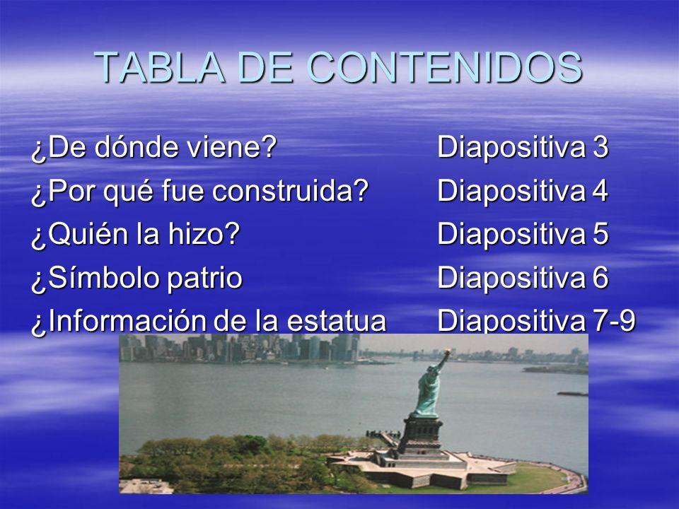 TABLA DE CONTENIDOS ¿De dónde viene?Diapositiva 3 ¿Por qué fue construida?Diapositiva 4 ¿Quién la hizo?Diapositiva 5 ¿Símbolo patrioDiapositiva 6 ¿Inf