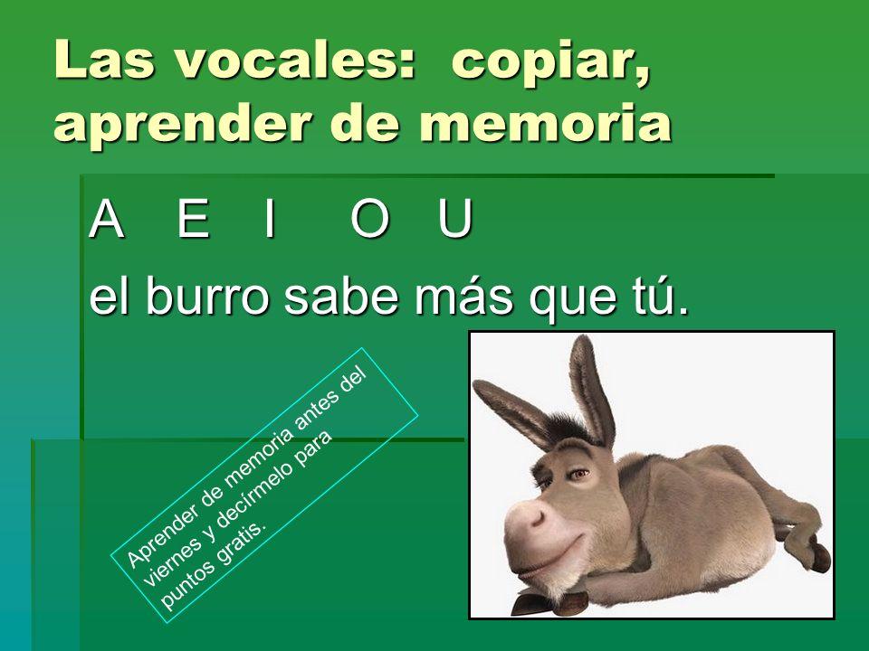 Las vocales: copiar, aprender de memoria AEIOU el burro sabe más que tú. Aprender de memoria antes del viernes y decírmelo para puntos gratis.