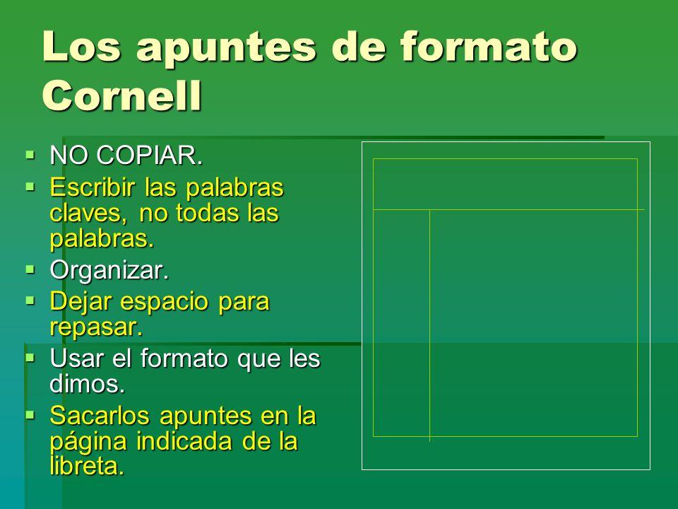 Los apuntes de formato Cornell NO COPIAR. NO COPIAR. Escribir las palabras claves, no todas las palabras. Escribir las palabras claves, no todas las p