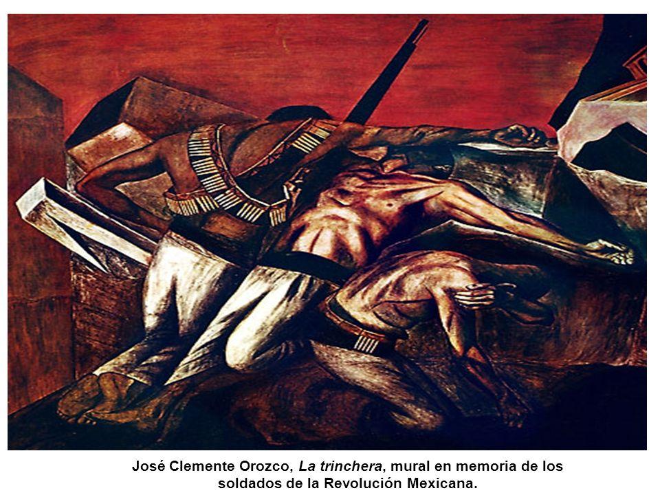 José Clemente Orozco, La trinchera, mural en memoria de los soldados de la Revolución Mexicana.