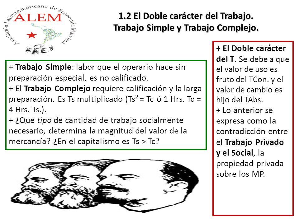 + El Doble carácter del T. Se debe a que el valor de uso es fruto del TCon. y el valor de cambio es hijo del TAbs. + Lo anterior se expresa como la co