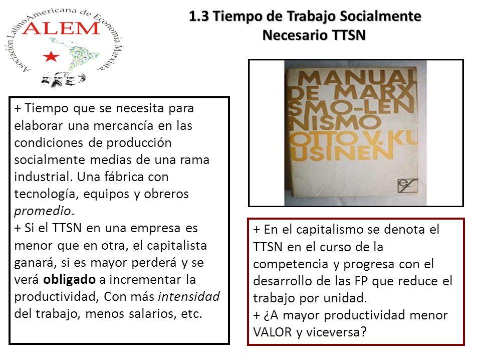 + En el capitalismo se denota el TTSN en el curso de la competencia y progresa con el desarrollo de las FP que reduce el trabajo por unidad. + ¿A mayo