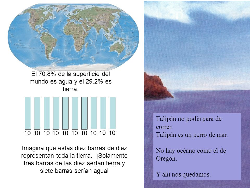 El 70.8% de la superficie del mundo es agua y el 29.2% es tierra. 10 Imagina que estas diez barras de diez representan toda la tierra. ¡Solamente tres
