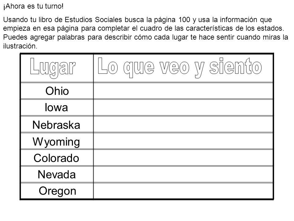 ¡Ahora es tu turno! Usando tu libro de Estudios Sociales busca la página 100 y usa la información que empieza en esa página para completar el cuadro d