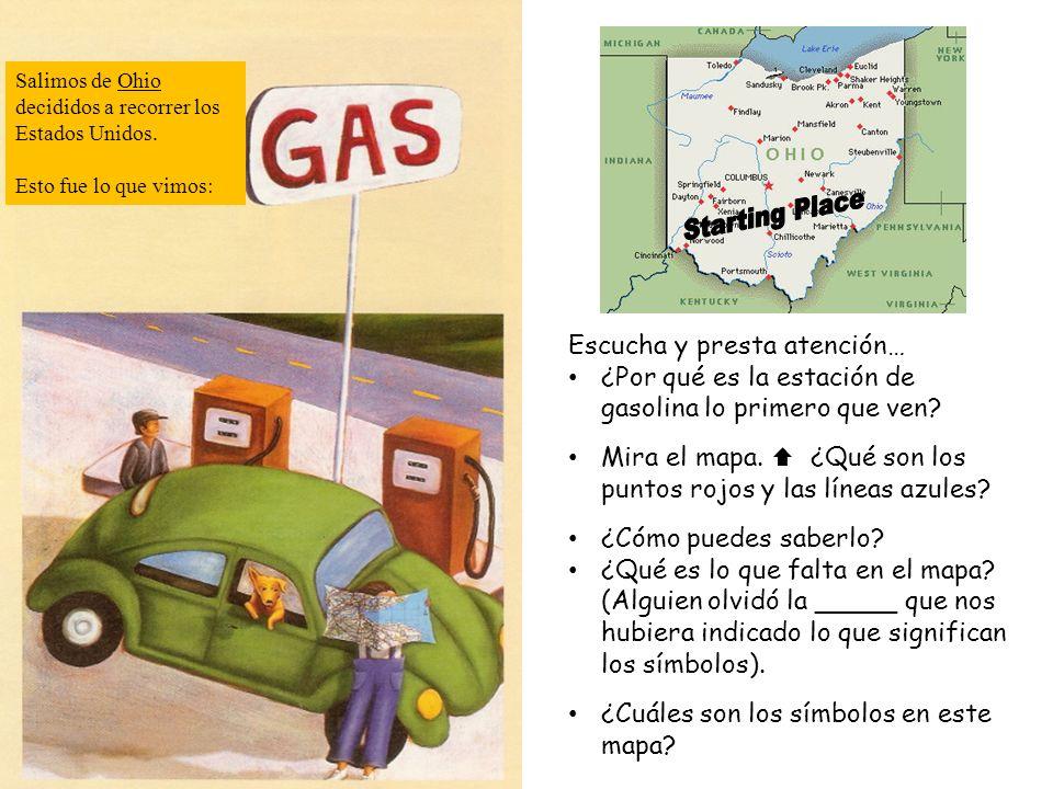 Escucha y presta atención… ¿Por qué es la estación de gasolina lo primero que ven? Mira el mapa. ¿Qué son los puntos rojos y las líneas azules? ¿Cómo
