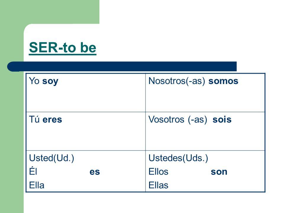 SER-to be Yo soyNosotros(-as) somos Tú eresVosotros (-as) sois Usted(Ud.) Él es Ella Ustedes(Uds.) Ellos son Ellas