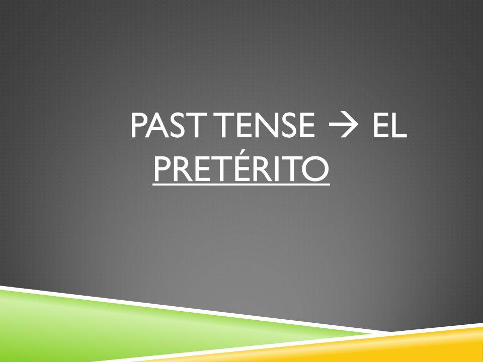 PAST TENSE EL PRETÉRITO