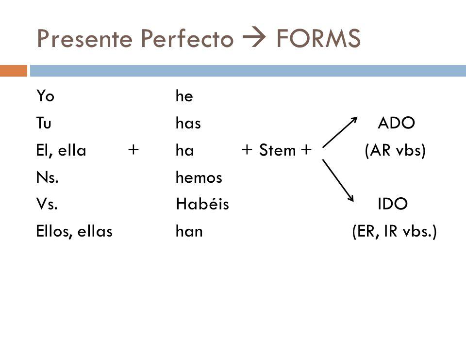 Presente Perfecto FORMS Yohe Tuhas ADO El, ella + ha + Stem + (AR vbs) Ns.