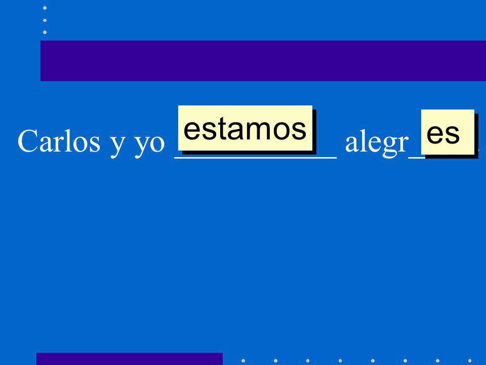 Carlos y yo __________ alegr____. estamos es