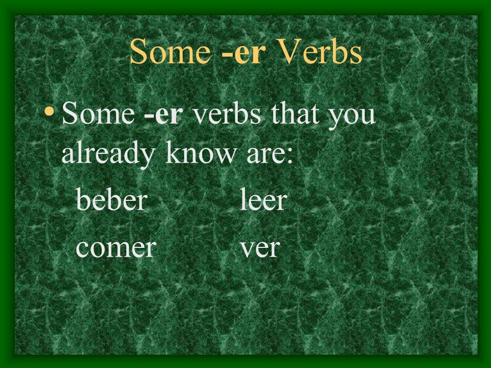 Some -er Verbs Some -er verbs that you already know are: beberleer comer ver