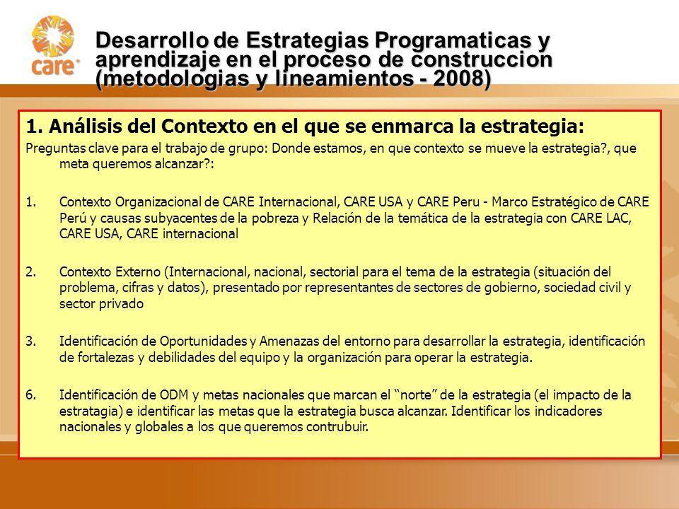 Desarrollo de Estrategias Programaticas y aprendizaje en el proceso de construccion (metodologias y lineamientos - 2008) 1.