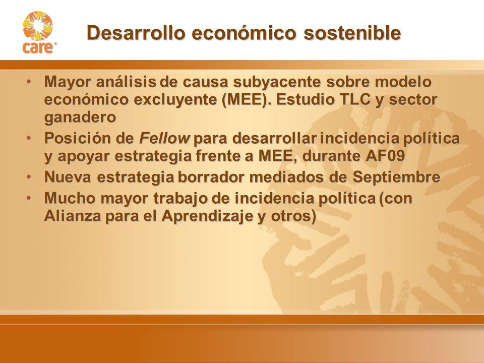 Desarrollo económico sostenible Mayor análisis de causa subyacente sobre modelo económico excluyente (MEE).