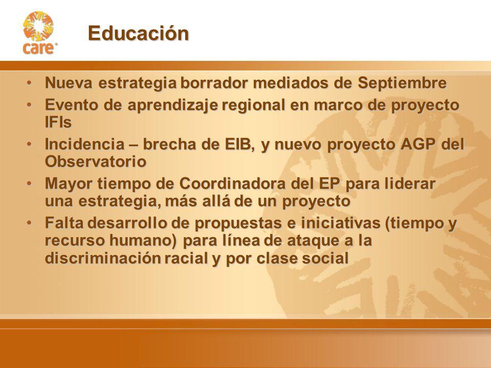 Educación Nueva estrategia borrador mediados de SeptiembreNueva estrategia borrador mediados de Septiembre Evento de aprendizaje regional en marco de proyecto IFIsEvento de aprendizaje regional en marco de proyecto IFIs Incidencia – brecha de EIB, y nuevo proyecto AGP del ObservatorioIncidencia – brecha de EIB, y nuevo proyecto AGP del Observatorio Mayor tiempo de Coordinadora del EP para liderar una estrategia, más allá de un proyectoMayor tiempo de Coordinadora del EP para liderar una estrategia, más allá de un proyecto Falta desarrollo de propuestas e iniciativas (tiempo y recurso humano) para línea de ataque a la discriminación racial y por clase socialFalta desarrollo de propuestas e iniciativas (tiempo y recurso humano) para línea de ataque a la discriminación racial y por clase social