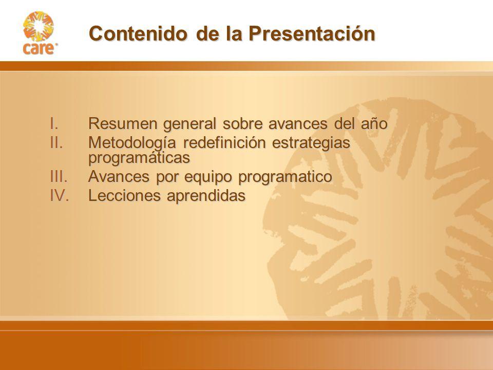 Contenido de la Presentación I.Resumen general sobre avances del año II.Metodología redefinición estrategias programáticas III.Avances por equipo programatico IV.Lecciones aprendidas