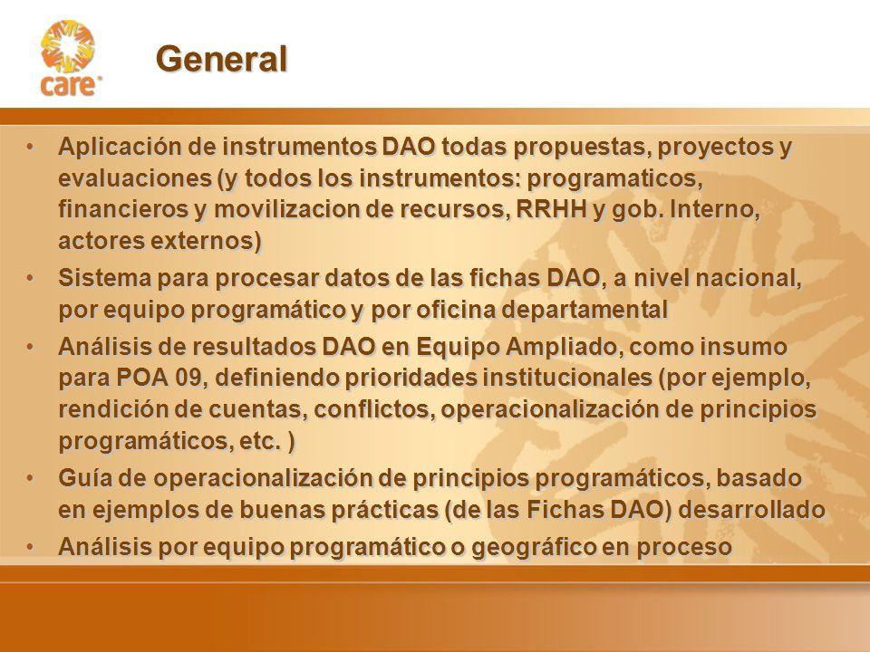 General Aplicación de instrumentos DAO todas propuestas, proyectos y evaluaciones (y todos los instrumentos: programaticos, financieros y movilizacion de recursos, RRHH y gob.