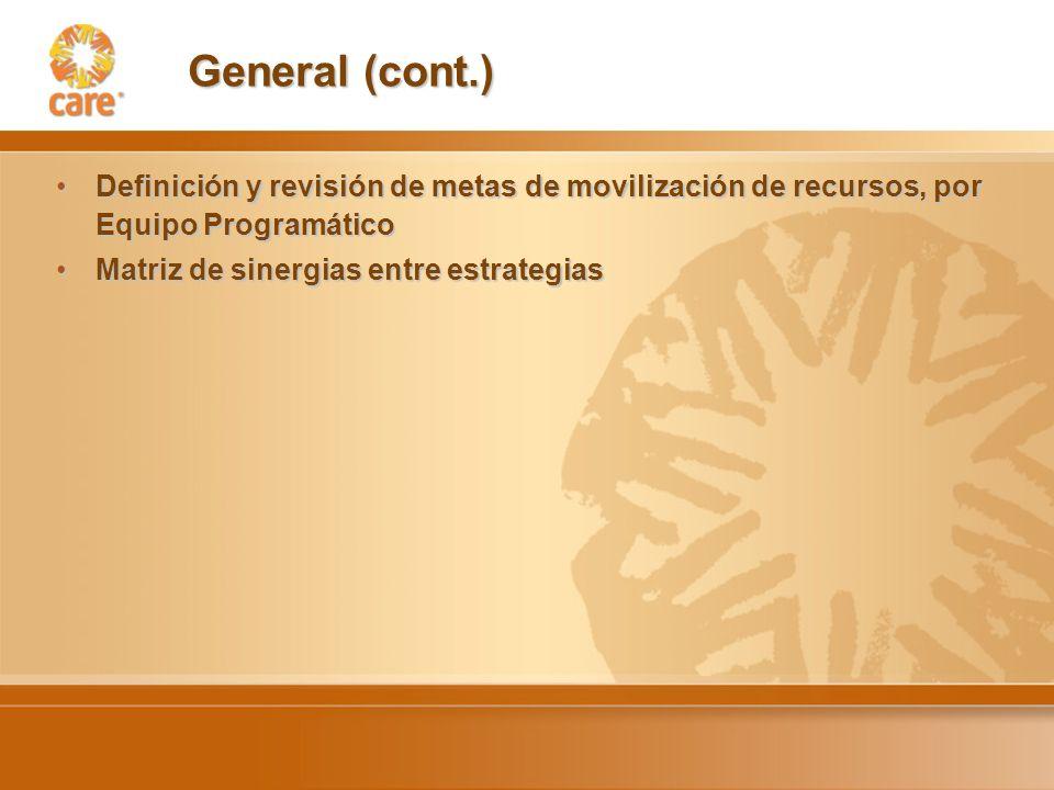 General (cont.) Definición y revisión de metas de movilización de recursos, por Equipo ProgramáticoDefinición y revisión de metas de movilización de recursos, por Equipo Programático Matriz de sinergias entre estrategiasMatriz de sinergias entre estrategias