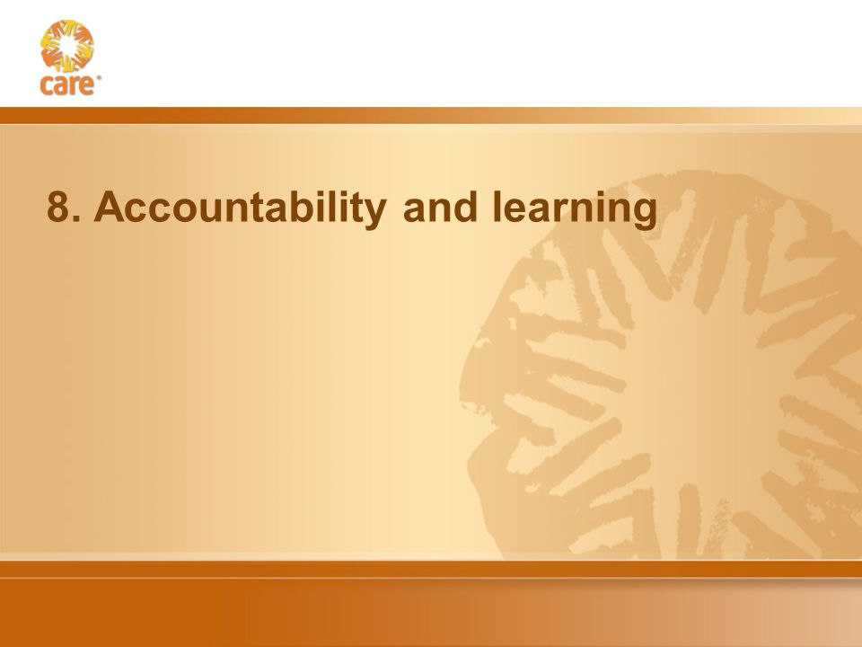 8. Accountability and learning