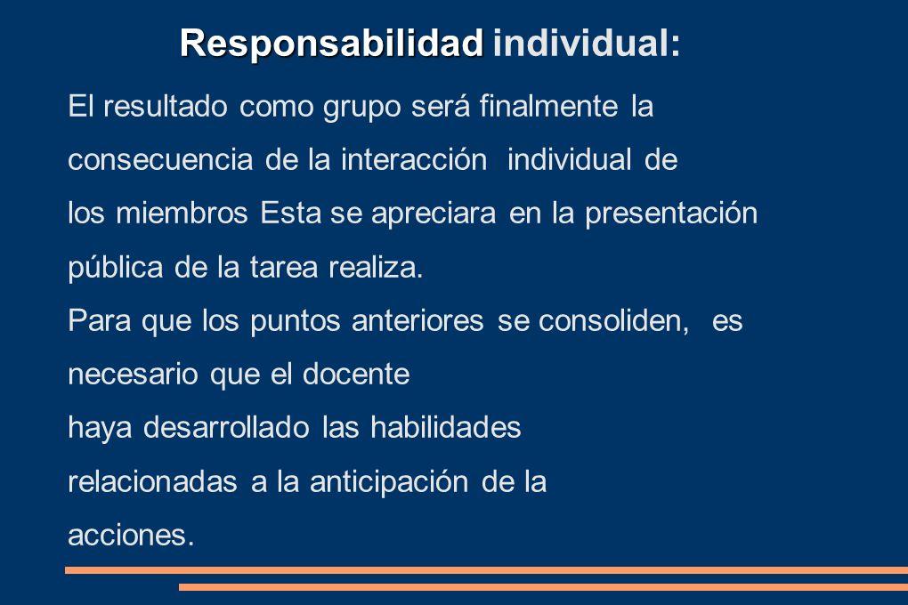 El resultado como grupo será finalmente la consecuencia de la interacción individual de los miembros Esta se apreciara en la presentación pública de l