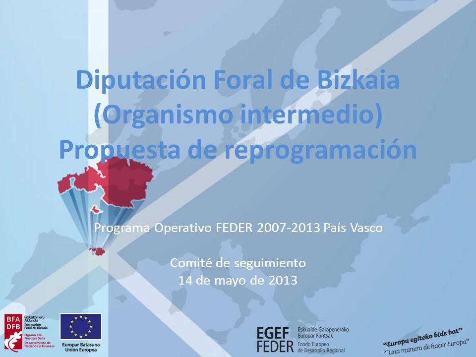Diputación Foral de Bizkaia (Organismo intermedio) Propuesta de reprogramación Programa Operativo FEDER 2007-2013 País Vasco Comité de seguimiento 14 de mayo de 2013