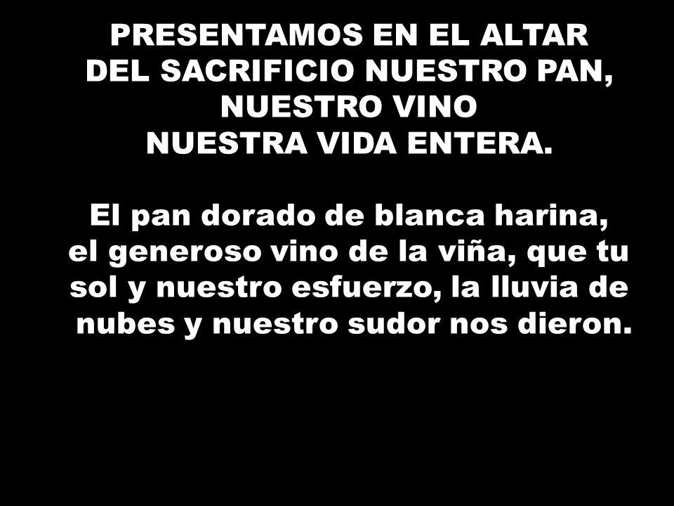PRESENTAMOS EN EL ALTAR DEL SACRIFICIO NUESTRO PAN, NUESTRO VINO NUESTRA VIDA ENTERA. El pan dorado de blanca harina, el generoso vino de la viña, que