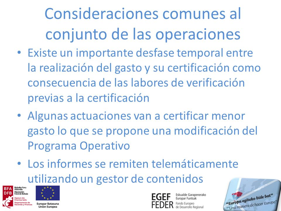 Situación de las operaciones Inversión certificada a 31 de diciembre de 2012