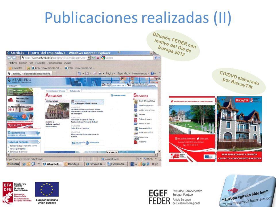 Publicaciones realizadas (II) CD/DVD elaborado por BiscayTIK Difusión FEDER con motivo del Día de Europa 2012