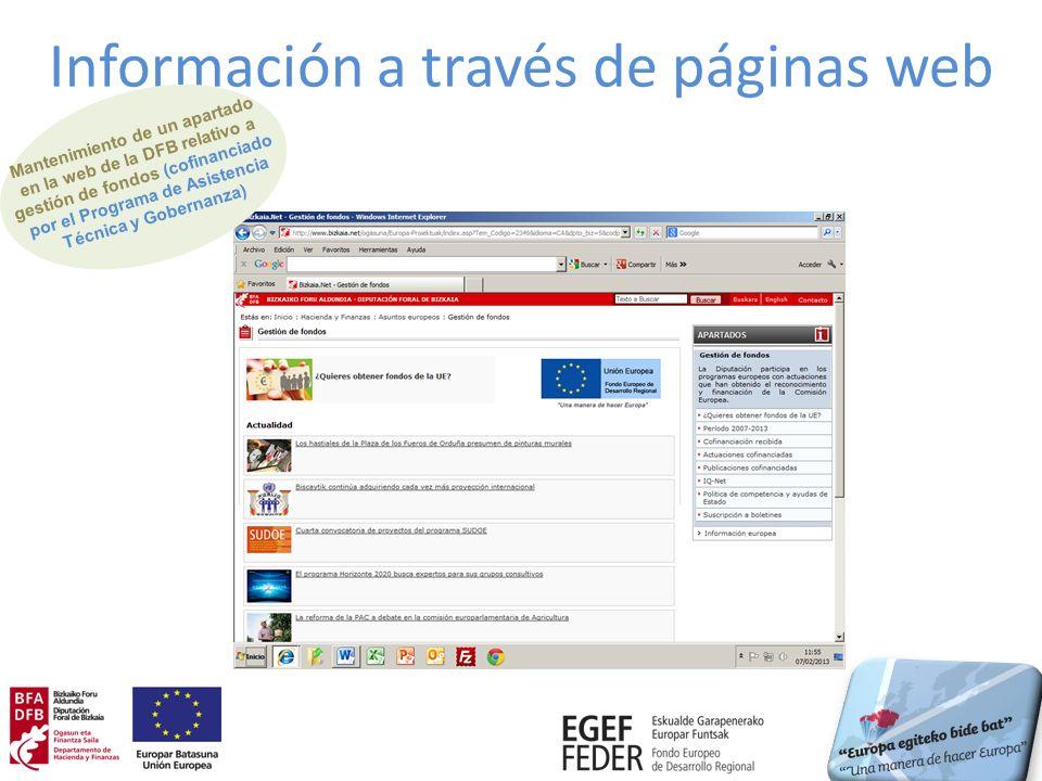 Información a través de páginas web Mantenimiento de un apartado en la web de la DFB relativo a gestión de fondos (cofinanciado por el Programa de Asi