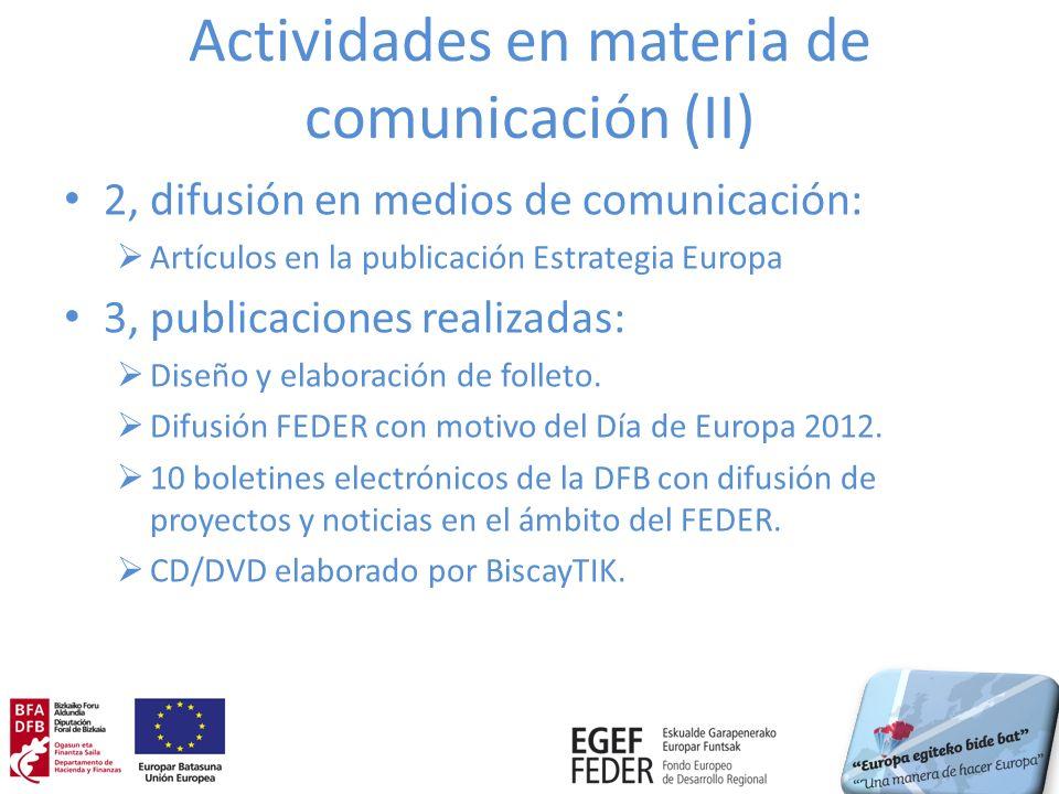 Actividades en materia de comunicación (II) 2, difusión en medios de comunicación: Artículos en la publicación Estrategia Europa 3, publicaciones real