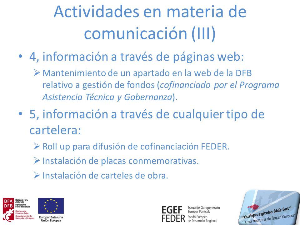 Actividades en materia de comunicación (III) 4, información a través de páginas web: Mantenimiento de un apartado en la web de la DFB relativo a gesti