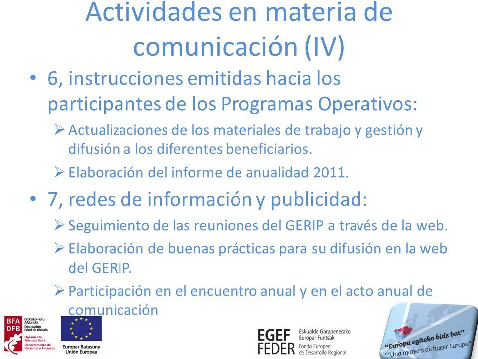 Actividades en materia de comunicación (IV) 6, instrucciones emitidas hacia los participantes de los Programas Operativos: Actualizaciones de los mate