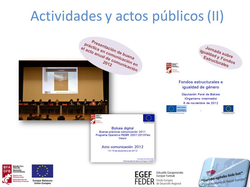 Actividades y actos públicos (II) Jornada sobre igualdad y Fondos Estructurales Presentación de buena práctica en comunicación en el acto anual de com