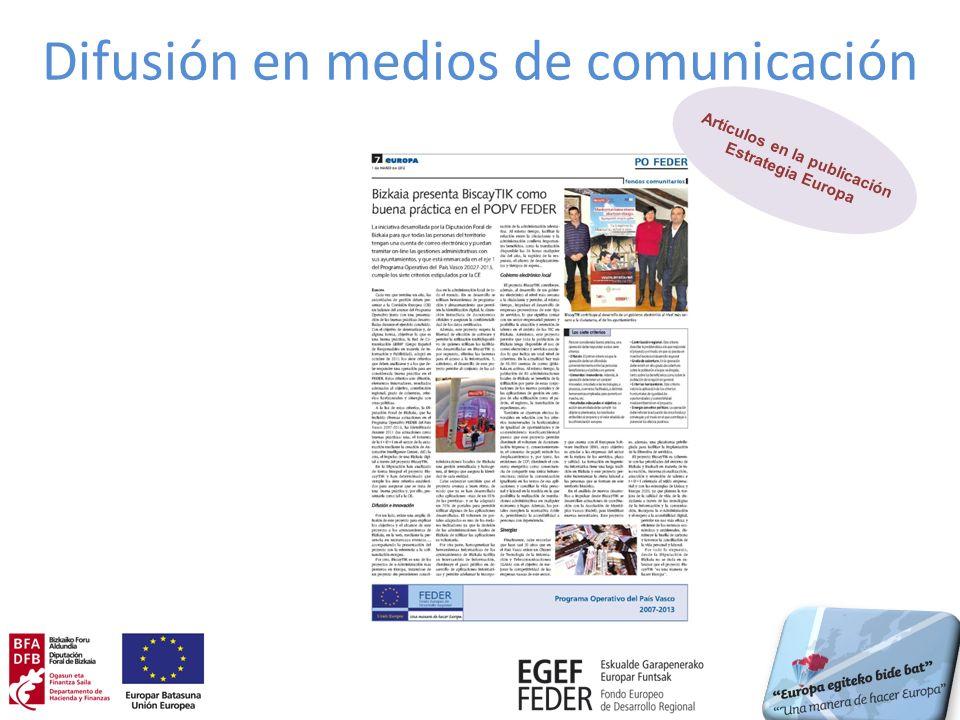 Publicaciones realizadas (I) Diseño y elaboración de folleto 10 boletines electrónicos de la DFB con difusión de proyectos y noticias en el ámbito del FEDER
