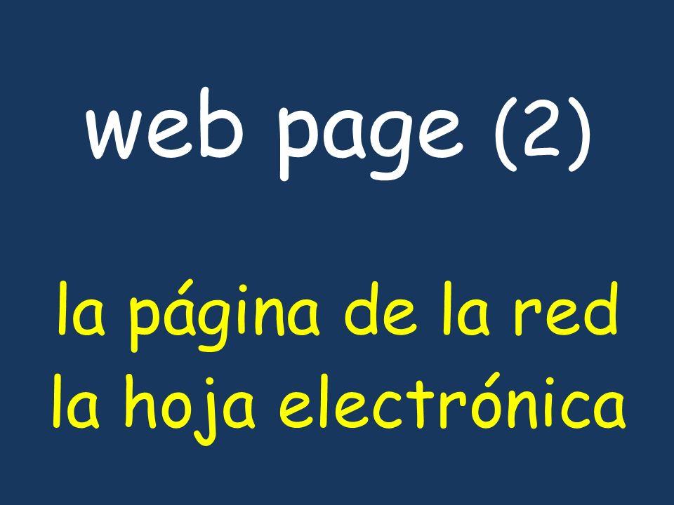 web page (2) la página de la red la hoja electrónica