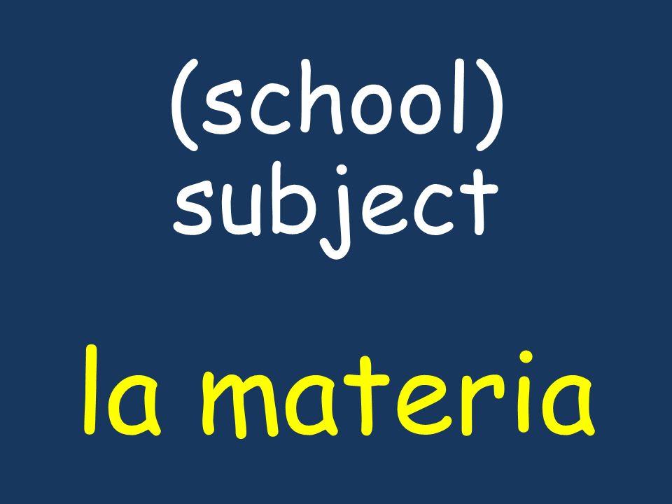 (school) subject la materia