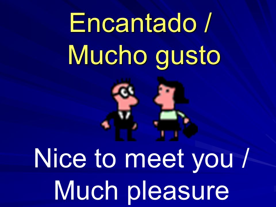 Nice to meet you / Much pleasure Encantado / Mucho gusto