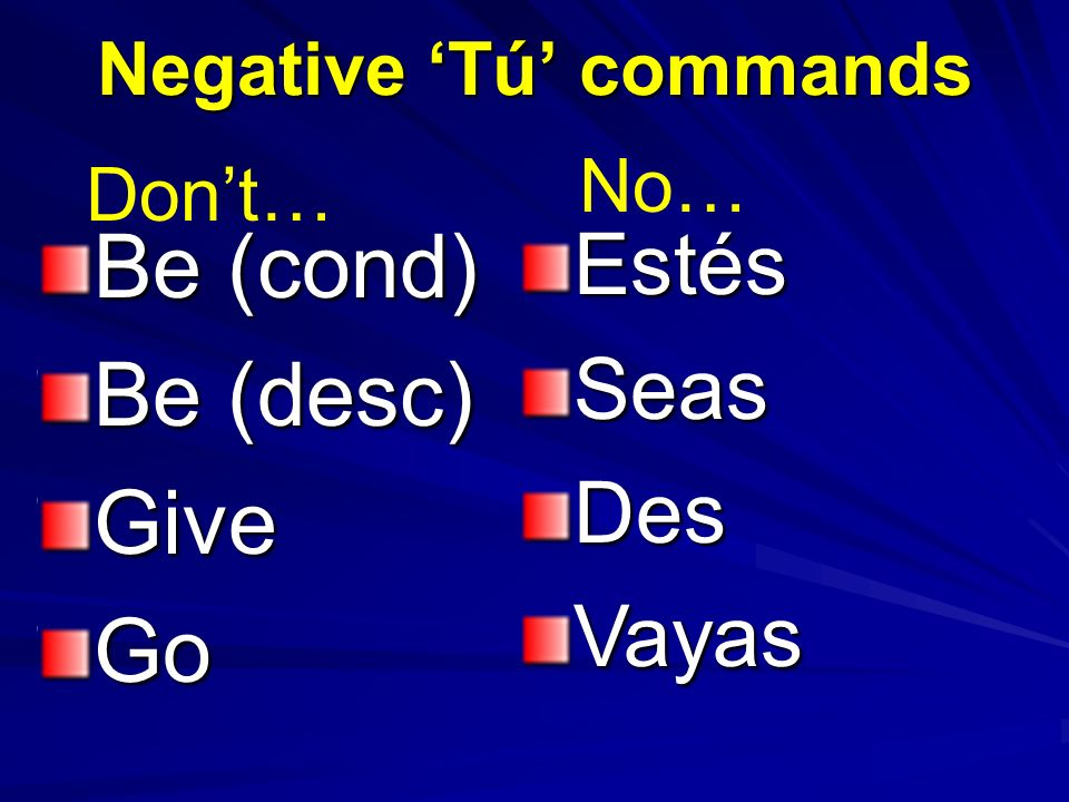 Negative Tú commands Be (cond) Be (desc) GiveGoEstésSeasDesVayas Dont… No…