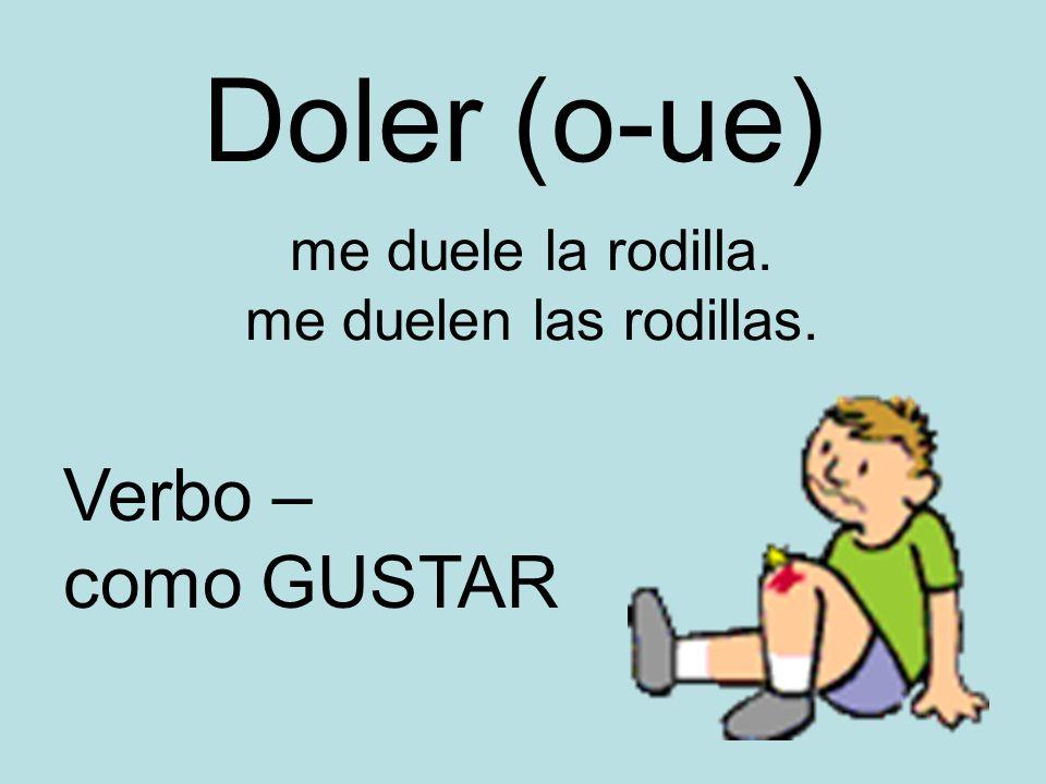 Doler (o-ue) Verbo – como GUSTAR me duele la rodilla. me duelen las rodillas.