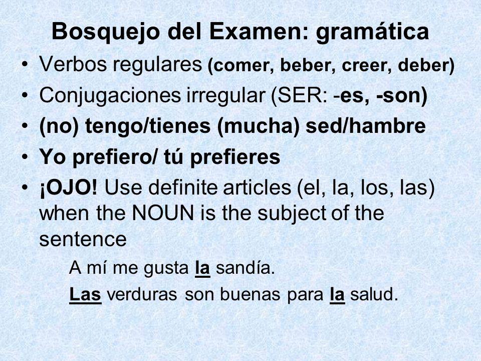 Bosquejo del Examen: gramática Verbos regulares (comer, beber, creer, deber) Conjugaciones irregular (SER: -es, -son) (no) tengo/tienes (mucha) sed/ha