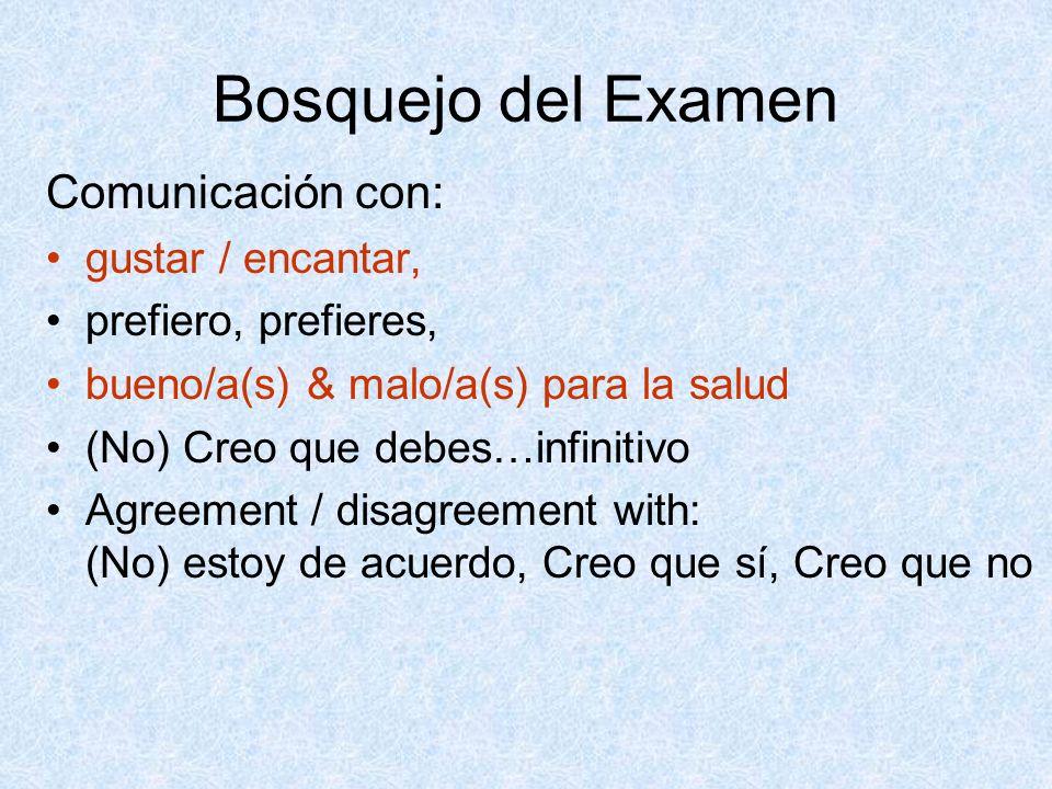 Bosquejo del Examen Comunicación con: gustar / encantar, prefiero, prefieres, bueno/a(s) & malo/a(s) para la salud (No) Creo que debes…infinitivo Agre