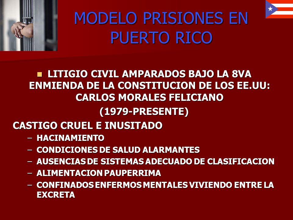 MODELO PRISIONES EN PUERTO RICO LITIGIO CIVIL AMPARADOS BAJO LA 8VA ENMIENDA DE LA CONSTITUCION DE LOS EE.UU: CARLOS MORALES FELICIANO LITIGIO CIVIL A