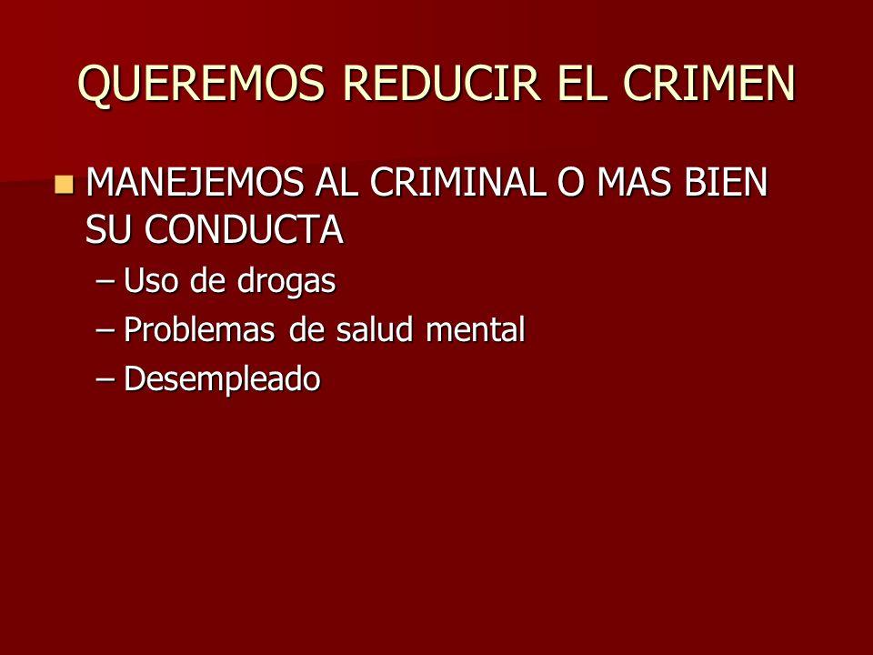 QUEREMOS REDUCIR EL CRIMEN MANEJEMOS AL CRIMINAL O MAS BIEN SU CONDUCTA MANEJEMOS AL CRIMINAL O MAS BIEN SU CONDUCTA –Uso de drogas –Problemas de salu