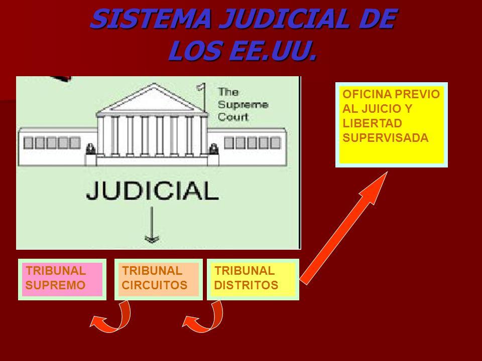 SISTEMA JUDICIAL DE LOS EE.UU. TRIBUNAL SUPREMO TRIBUNAL CIRCUITOS TRIBUNAL DISTRITOS OFICINA PREVIO AL JUICIO Y LIBERTAD SUPERVISADA