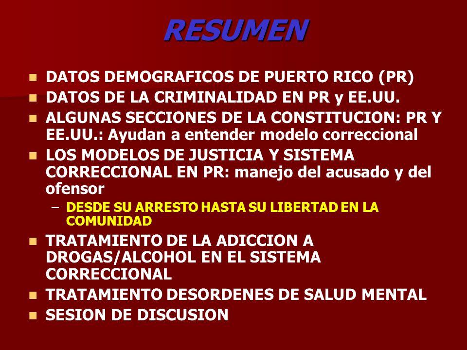 RESUMEN DATOS DEMOGRAFICOS DE PUERTO RICO (PR) DATOS DE LA CRIMINALIDAD EN PR y EE.UU. ALGUNAS SECCIONES DE LA CONSTITUCION: PR Y EE.UU.: Ayudan a ent