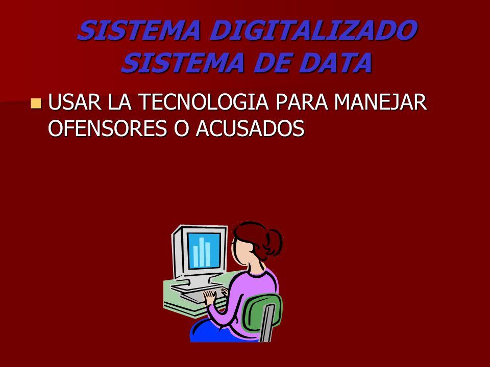 SISTEMA DIGITALIZADO SISTEMA DE DATA USAR LA TECNOLOGIA PARA MANEJAR OFENSORES O ACUSADOS USAR LA TECNOLOGIA PARA MANEJAR OFENSORES O ACUSADOS