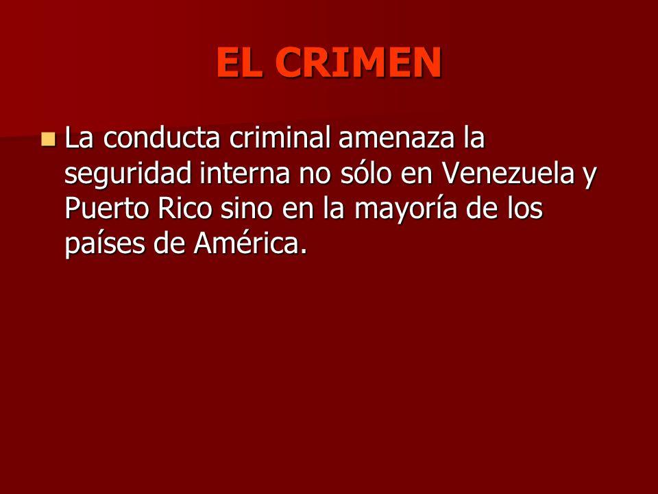 EL CRIMEN La conducta criminal amenaza la seguridad interna no sólo en Venezuela y Puerto Rico sino en la mayoría de los países de América. La conduct