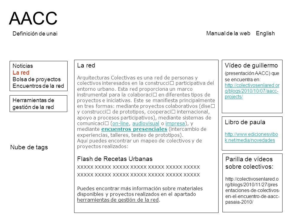 AACC Definición de unai Noticias La red Bolsa de proyectos Encuentros de la red Manual de la web English La red Arquitecturas Colectivas es una red de personas y colectivos interesados en la construcci participativa del entorno urbano.