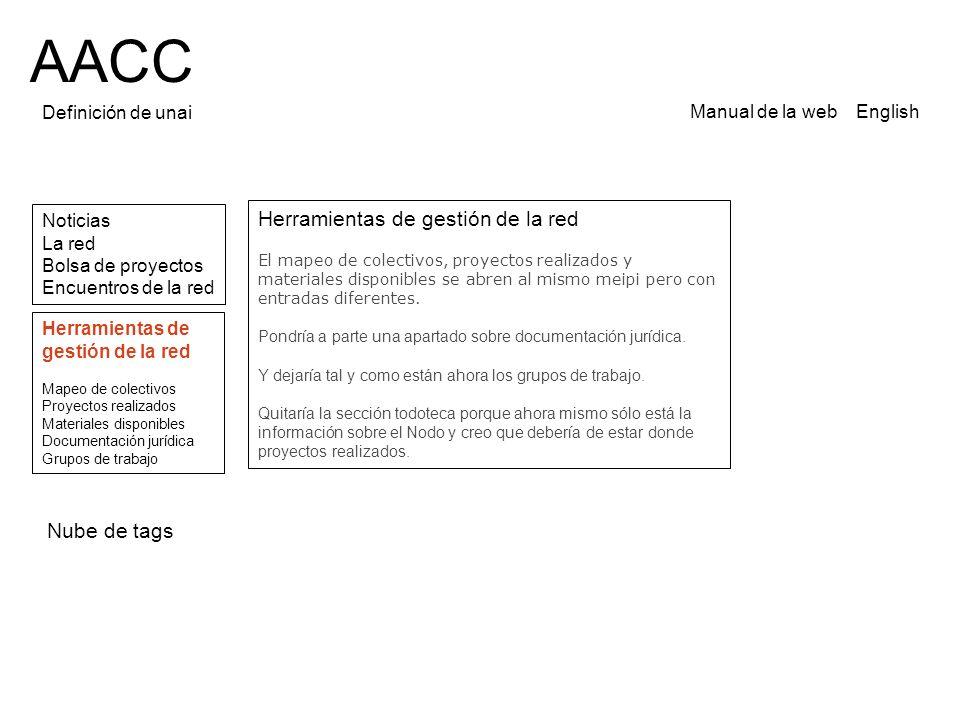 AACC Definición de unai Noticias La red Bolsa de proyectos Encuentros de la red Manual de la web English Herramientas de gestión de la red El mapeo de colectivos, proyectos realizados y materiales disponibles se abren al mismo meipi pero con entradas diferentes.