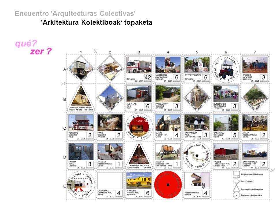 Encuentro Arquitecturas Colectivas Arkitektura Kolektiboak topagunea quién? nortzuk ?