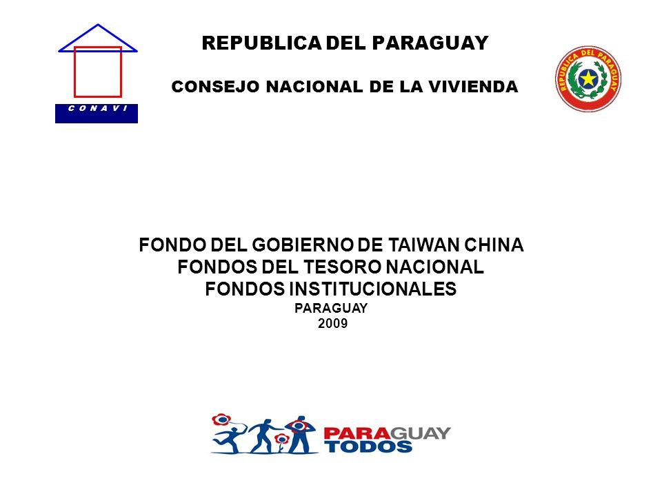 REPUBLICA DEL PARAGUAY CONSEJO NACIONAL DE LA VIVIENDA C O N A V I FONDO DEL GOBIERNO DE TAIWAN CHINA FONDOS DEL TESORO NACIONAL FONDOS INSTITUCIONALE