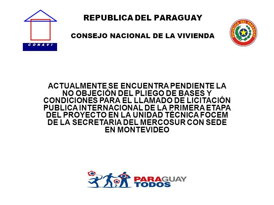 REPUBLICA DEL PARAGUAY CONSEJO NACIONAL DE LA VIVIENDA C O N A V I ACTUALMENTE SE ENCUENTRA PENDIENTE LA NO OBJECIÓN DEL PLIEGO DE BASES Y CONDICIONES